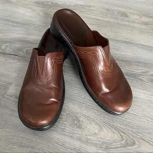 Clarks Slip on Brown Leather Women Mules